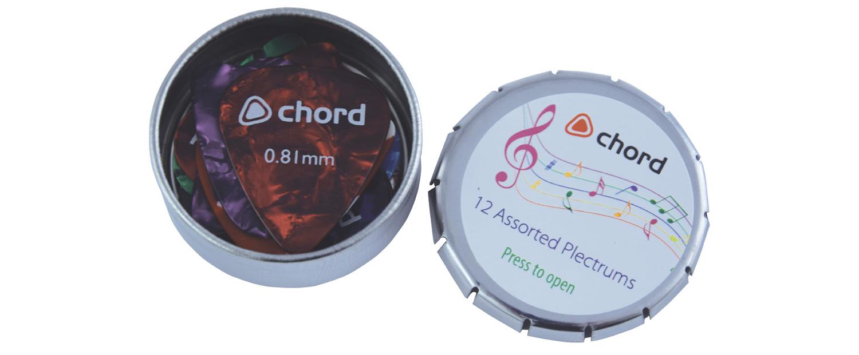 Chord plectrum tin